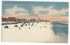 Daytona Linen Vintage Cars on Sandy Beach Postcard - $6.95