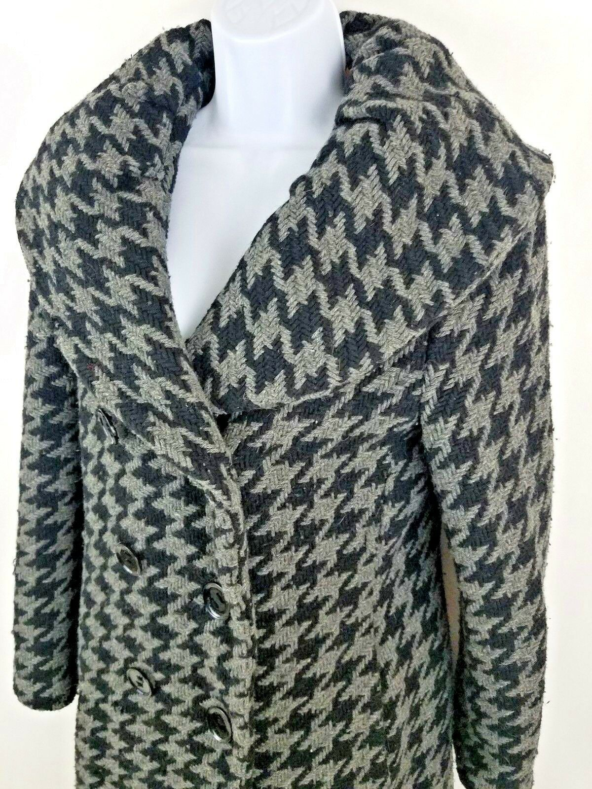 Calvin Klein Houndstooth Double Breasted Gray Wool Blend Long Coat Jacket Sz 6