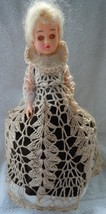 Vintage Toilet Roll Plastic Doll With Crochet Overlay Dress - $5.99