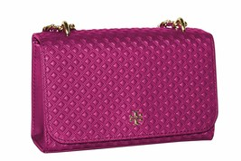 Tory Burch Womens Fuchsia Pink Quilted Embossed Bombe Chain Shoulder Bag... - $193.54