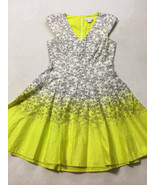 Jessica Simpson 4 Purple Floral Neon Yellow Fit & Flare Dress Pockets Ombre - $26.99