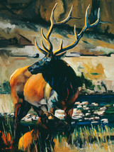 The Protector by Terry Lee Bull Elk Wildlife Canvas Giclee L/E Print 40x30 - $490.05