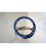 Vintage Sterling Brooch Sapphire Blue Rhinestone Round Art Deco Pin 1940s - $28.00