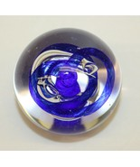 Vintage Glass Paper Weight - Dynasty Gallery Blue Ribbons - $25.73