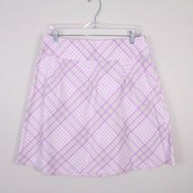 Ann Taylor LOFT 6 Purple White Plaid Check Cotton Pleated A-Line Skirt P... - $24.74
