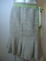 ANN TAYLOR PETITES Skirt 6P Cotton Linen Flared Lined Ribbon Tie Gored S... - $44.55