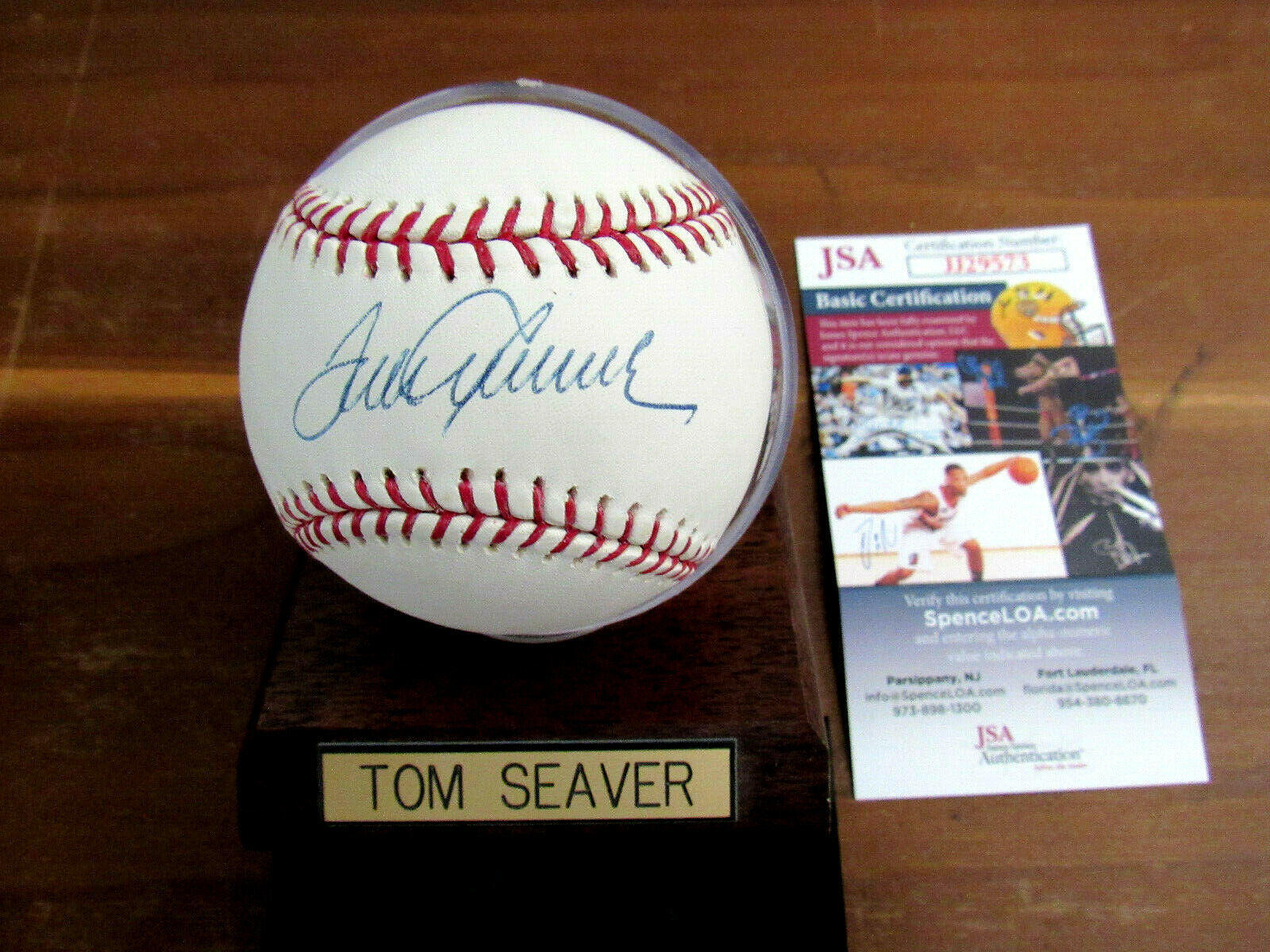 Primary image for TOM SEAVER 1969 WSC NY METS HOF SIGNED AUTO OML BASEBALL JSA GEM WITH BASE