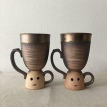 Japanese Haniwa Pair Mug Cup 5.70 inches Ryusei Kiln Bizen Pottery Mank-... - $116.16