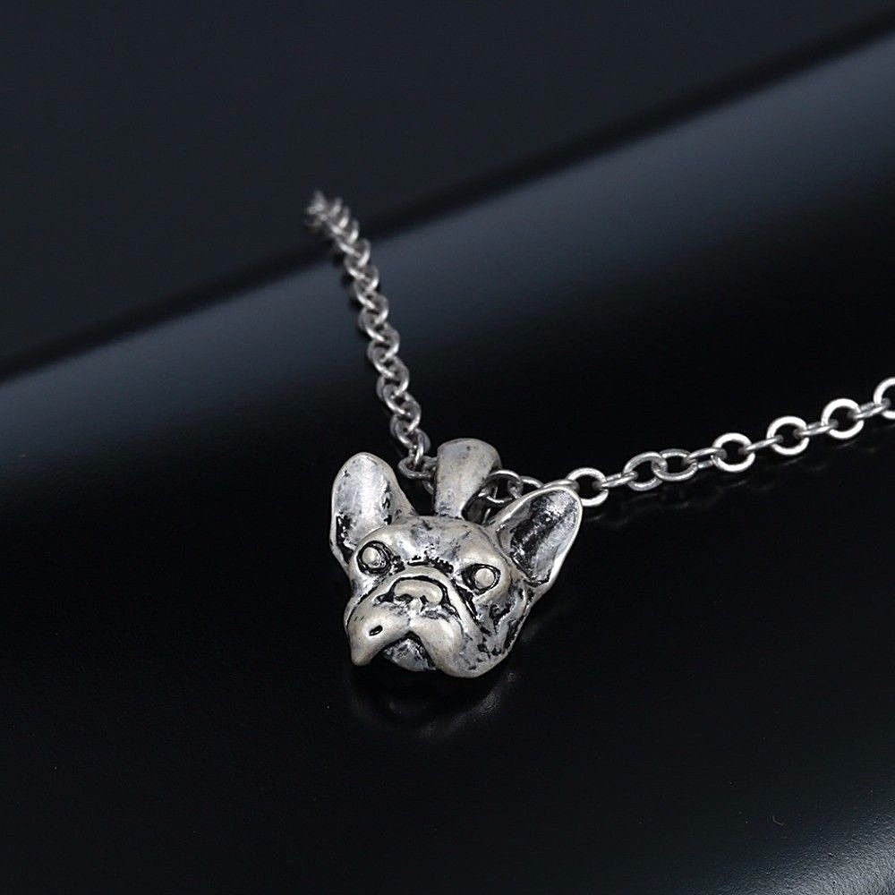"""Small 1/2"""" FRENCH BULLDOG HEAD Charm Pendant Necklace 18"""" Chain Lobster Clasp"""