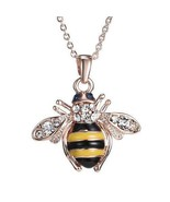 Truly Adorable Bee~Bumblebee Pendant w/Chain~Crystals~Necklace~Gift Bag ... - $19.99