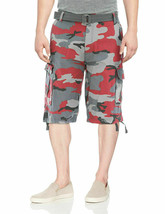 Men's Military Army Cotton Twill Red Camo Cargo Shorts With Belt w/ Defect - 36