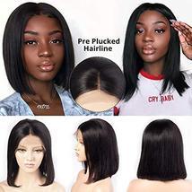 Glueless Short Bob Wigs Brazilian Virgin Hair Straight Bob Wigs Lace Front Human image 6