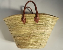 Sale  Basket with hand sewing leather handles