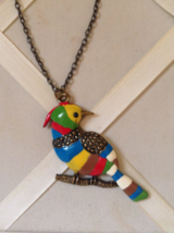 Vintage Multi Colorful Enamel Jay Bird Pendant Fashion Necklace - $45.00
