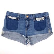 Gap Jean Shorts Size 4 Blue Denim Lace Pocket Detail Cutoff Womens - $19.80
