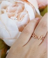 Love Ring, Love in Cursive Handwriting Ring, Dainty Stackable Rose Gold,... - $12.67