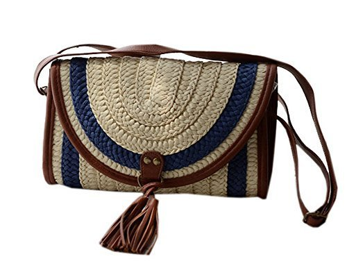 Casual Straw Color Block Cross Body Bag for Women