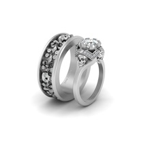 Solid 14k White Gold Fleur De Lis Gothic Wedding Band Set Moissanite Skull Rings - $4,749.99
