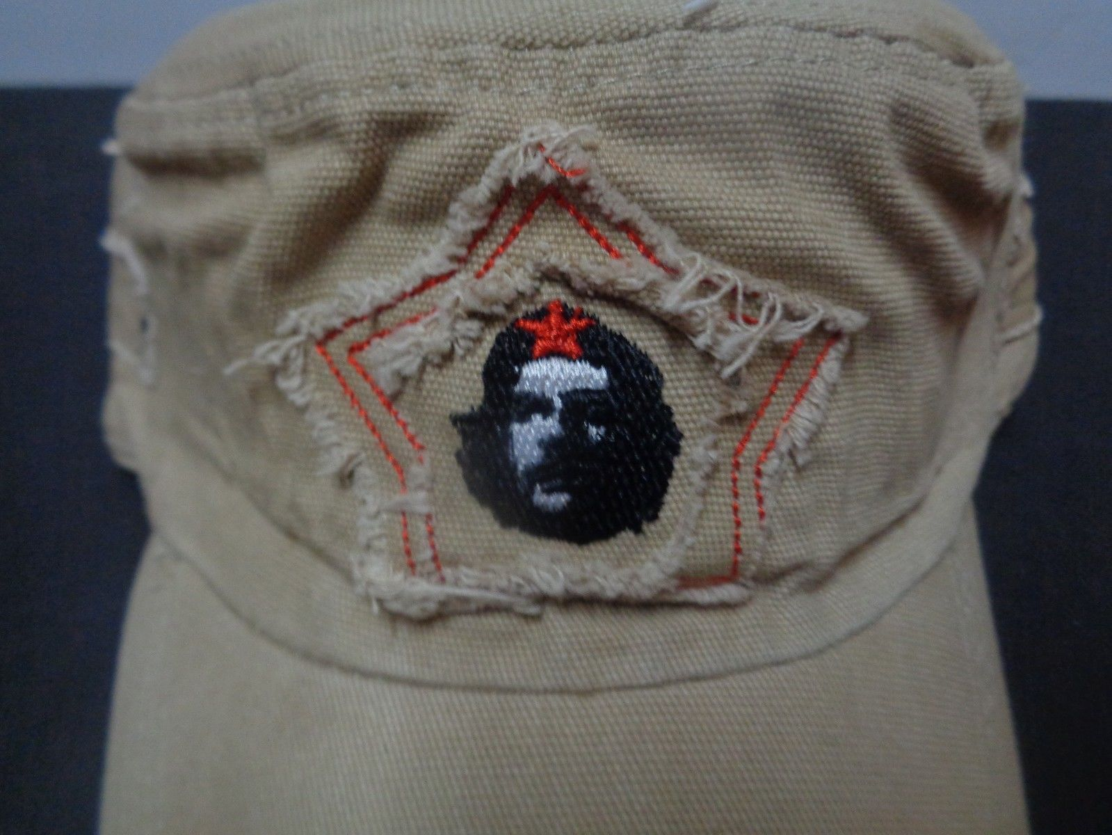 Che Guevara Red Star Distressed Hat Dark Khaki Beige NWT Adult Size Revolution