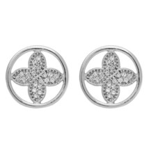 Flower Under Circle Cubic Zirconia Gemstone 925 Sterling Silver Earring - $20.98
