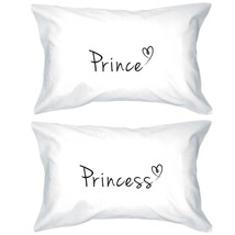 Prince and Princess Matching Couple Pillowcases - Cute Couple's Pillow C... - $35.99