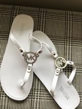 Womens Michael Kors Charm MK Jelly Thong Slip On Sandal Slip On PVC White - $47.88