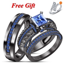 14k Black Gold Plated 925 Silver His & Hers Trio Blue Sapphire Wedding R... - $172.99