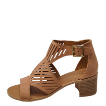 Qupid Kirby 42X Blush Women's Cut Out Open Toe Sandal Heels - $33.95