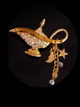 Vintage Aladdin lamp brooch - chandelier stars moons - aurora borealis  ... - $48.00