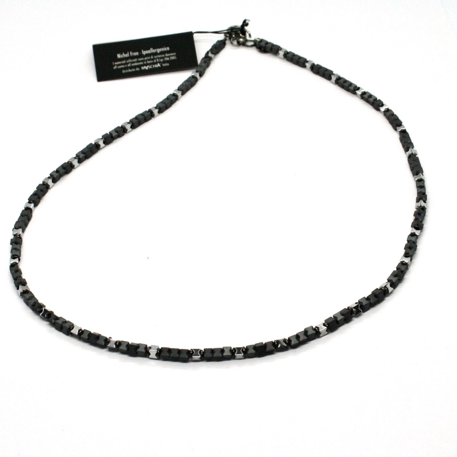 925 STERLING SILVER NECKLACE BURNISHED WITH HEMATITE GLOSSY MADE IN ITALY BY
