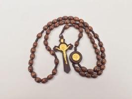 Saint Benedict Wood Rosary- Rosario de Madera San Benito - $8.95