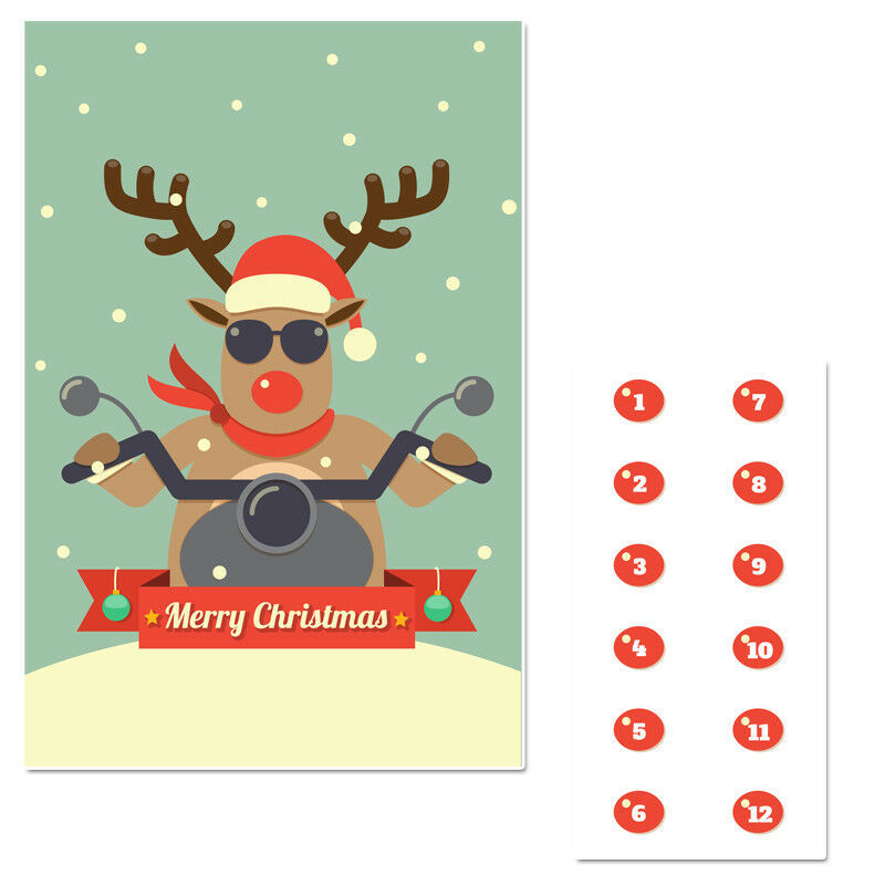 Winter Reindeer Biker Pin The Nose Christmas Party Game