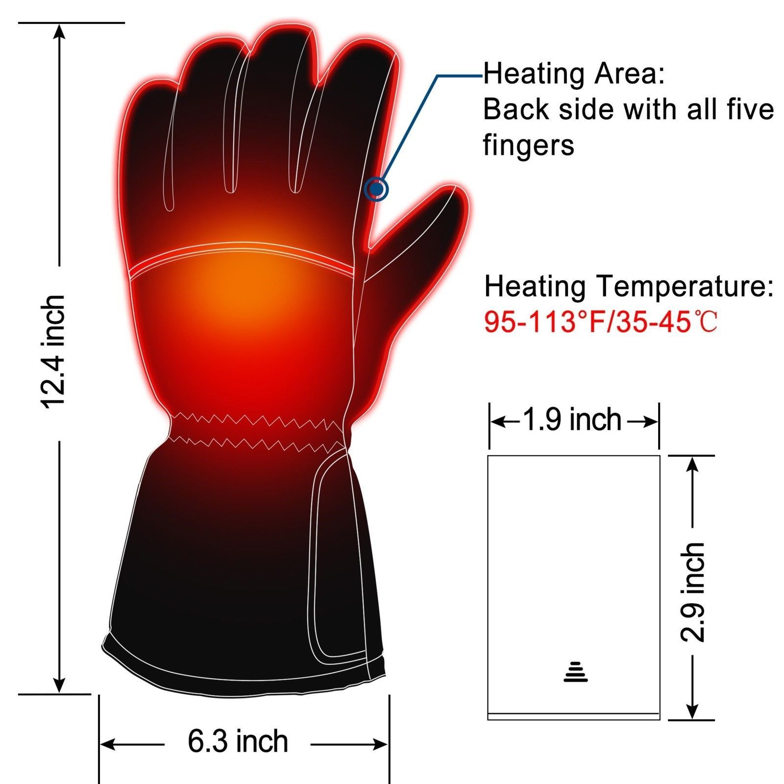 Battery Powered Heated Gloves for Men and Women, Waterproof Insulated Electric H