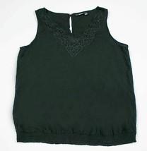 A.N.A. WOMENS LARGE L BLACK TANK TOP RAYON SHIRT BLOUSE CUT-OUTS LAYERIN... - $16.82