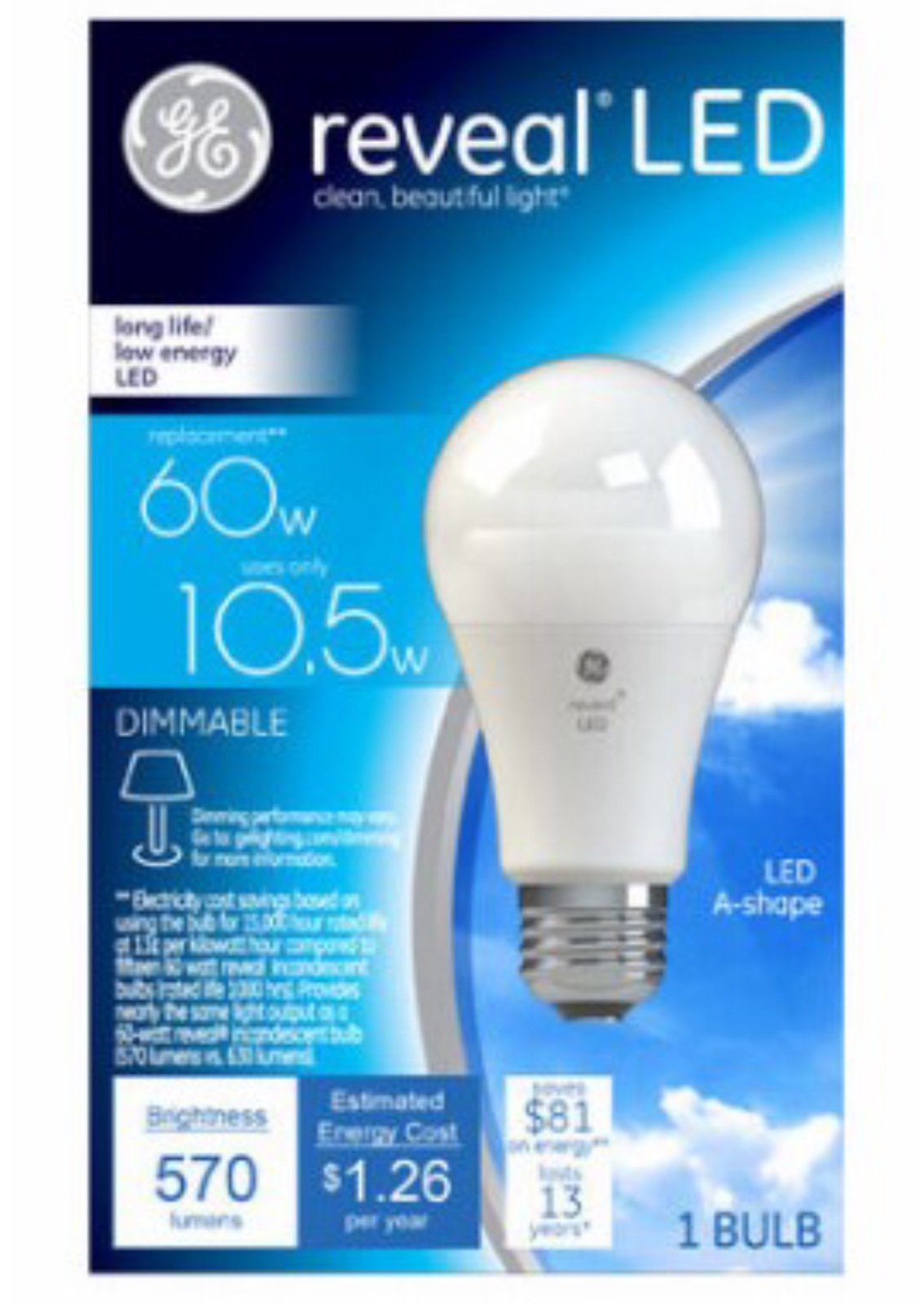 GE 60W Equivalent Reveal (2850K) A19 Dimmable LED Light Bulb
