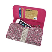 Diamond Bling Credit Card Pink Wallet fits LG Tribute Dynasty (Sprint) - $19.79
