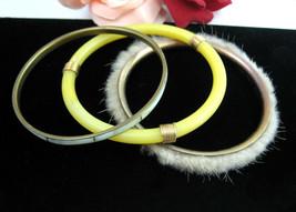 LOT 3 BANGLE BRACELETS  ODD Vintage Yellow Plastic Soft FUR Brass MOP Go... - $16.99