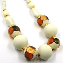 NECKLACE WHITE ORANGE MURANO GLASS SPHERE & GOLD LEAF, MADE IN ITALY, 42 cm image 2