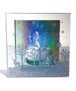 Winter Candle Holder - Glittery Deer and Tree Scene - Aurora Borealis Re... - $12.99