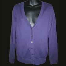 Sz M Ann Taylor Loft Purple V Neck Cardigan Sweater Soft Pima Cotton Aub... - $34.64