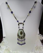 """Antique Vintage Czech Czechoslovakia Violet Purple 20.5"""" Ornate Pendant ... - $266.31"""