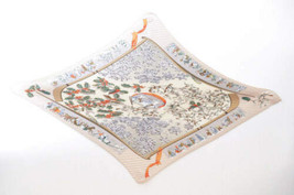 "HERMES Pleated scarf """"NEIGE D'ANTAN"" 100% Silk Beige Auth 3774 - $230.00"