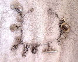 Vtg SS Charm Bracelet 12 Small Charms Cowboy Hat Heart & Key Destroyer (... - $44.88