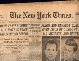 The New York Times  Saturday October 8, 1960 - $7.00