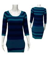 Max Studio sweater women's dress striped blue 3/4 sleeve size M (D-3I) - $45.33