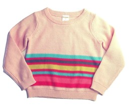 Gymboree Girls Sweater 2T Pink Multi-color Stripes Pullover Crew Toddler NEW - $24.14