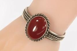 Vintage Sterling Silver Amazing Dark Garnet Cuff Bracelet Made in Mexico - $227.55