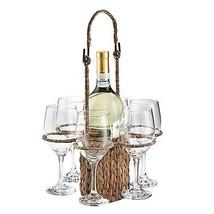 Artland® Garden Terrace Seagrass Wine Tote with 6 Wine Glasses - $28.99