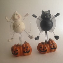 Vintage Two Halloween Ceramic Figurines Spring Wire Bobbles Decorations ... - €14,82 EUR