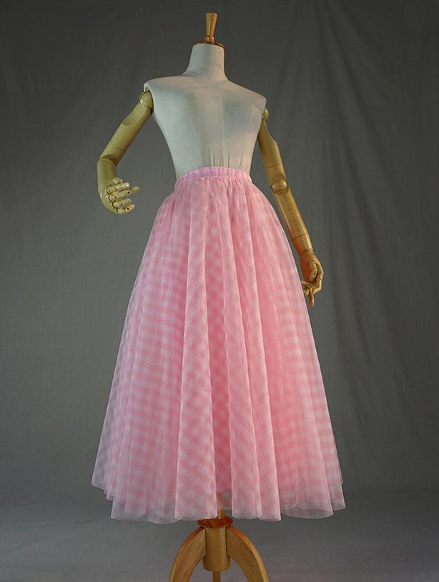 Tulle skirt pink plaid 2